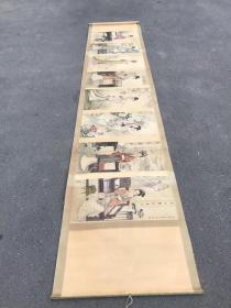 下鄉收仕女圖長卷一幅,保存完好,尺寸330×68厘米
