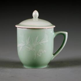 景德镇老厂货瓷器 建国瓷厂影青竹叶茶杯 盖杯