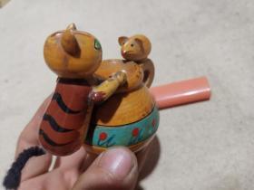 八十年代 木偶摆件 老鼠偷油,猫捉老鼠?