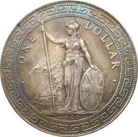 英国香港站人贸易银站洋1907年银元