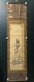 日本回流字画 原装旧裱  537   一苇渡江