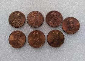 美国硬币1美分铜币 流通品7枚一起