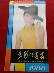 怀旧收藏挂历年历1988《多彩的青春》12月全湖南美术出版社