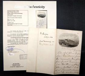 """""""日不落帝国""""英国 维多利亚女王 1859年亲笔信函 JSA鉴定"""