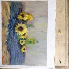 油画,六朵葵花
