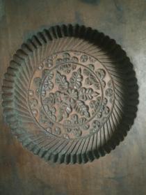 解放初期老木雕【中秋月饼模具壳】6星太阳花题材少民俗收藏