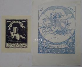 德国与意大利早期藏书票两张合售