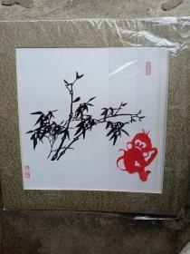 张方林剪纸多幅,那幅竹子卡纸脱落,送一张小猴,共10幅大的,2幅小的