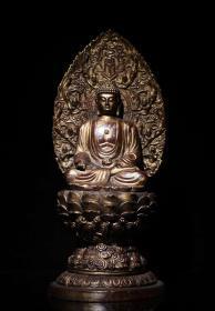 收藏佛像神像纯铜泥金大日如来造像一尊高37.5cm
