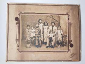 民国老照片二张 大尺寸 强烈泛银