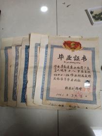 毕业证书六张,年代50到60年代,上面有毛主席的肖像,包真包老,售出不退,标的是一张的价格。已经卖了一张。