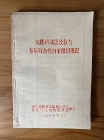 沈阳市基层政权与基层群众性自治组织现况