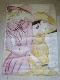 王菲巨幅人物水彩画作品:都市丽人