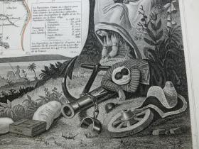 【百元包邮】稀少的老地图  法国殖民地 1856年制 周边配有钢版画图案 (编号Z000018)