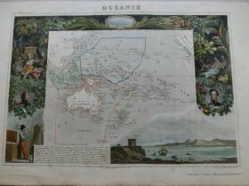 【百元包邮】稀少的老地图  澳大利亚(澳洲、大洋洲) 1856年制 周边配有钢版画图案 (编号Z000020)