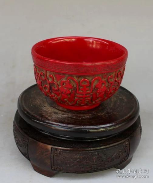 樹脂紅色福壽杯
