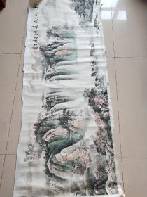 著名画家张葆桂五尺山水画 松山飞瀑,170*64