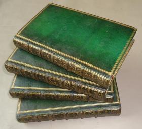 1722年 OEUVRES de NICOLAS BOILEAU DESPREAUX《布瓦洛诗文集》高古全羊皮豪华装帧4册全 原品铜版画插图 金碧辉煌殿刻本