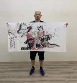 著名画家熊灵通四尺人物画《仕女图》140*70厘米作品编号mn086