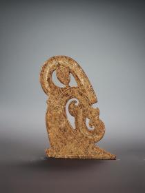 旧藏老和田玉受沁浮雕玉舞人挂件把件古玉老玉收藏中古玉器