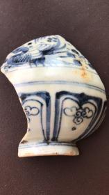元青花瓷片----元代青花鸳鸯戏水纹玉壶春瓶瓷片
