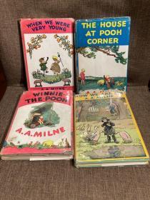 The Winnie-the-Pooh Books(A. A. 米尔恩《维尼熊诗文集》四卷全,E. H. Shepard经典插图,漂亮的布面精装毛边本,全部带护封,1950年新一版初版)