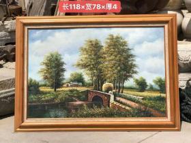 解放前后楠木框.純手繪風景人物油畫一副.描繪精細.栩栩如生.保存完整