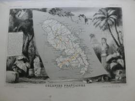 【百元包邮】稀少的老地图  法国殖民地 1856年制 周边配有钢版画图案 (编号Z000012)