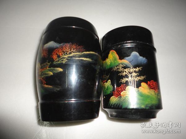 老脫胎漆器茶葉罐2個(11cm*6cm*11cm)(10.5cm*7cm*10.5cm)尺寸如圖