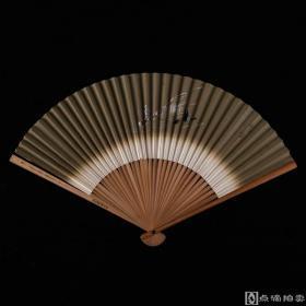 旧制 日本回流折扇2把:和风出行图、老扇骨书画纸扇面 ,尺寸不一(B10)