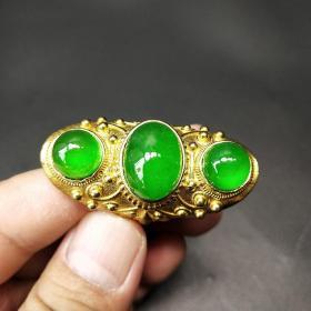 帝王绿三珠翡翠戒指
