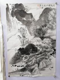 张承德,江苏著名山水画家,68X45,问友图,保真。