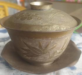 清末 茶具 铜镀银 手工刻花 三截头 茶碗 梅兰竹菊 9*11cm 8成