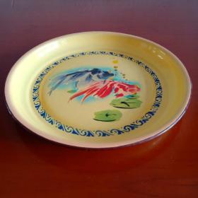 1962年武汉搪瓷厂生产【金鱼商标】特制加厚型搪瓷盘