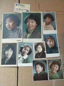 五十年代 手工上色 彩色原版照片一批9张合售 具体看图