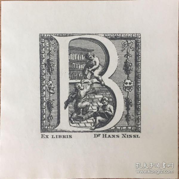 德國線刻版藏書票書架上的小天使