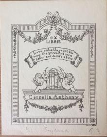 德國線刻版藏書票看書的天使