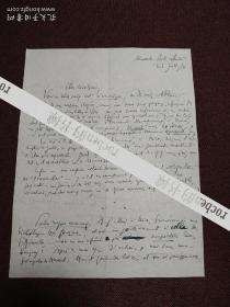 【法国著名作家、法兰西院士 亨利•德•蒙泰朗(Henry de Montherlant)亲笔信札一通一页(正反面)】