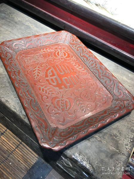 高檔貨,清代民國大戶人家使用的木胎漆器文盤,品相好,圖案精美,難得一見的好東西,