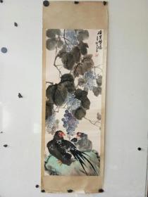 原装裱花鸟画一幅  如龙? 作者不识  尺寸91x35