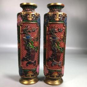 旧藏彩绘漆器花开富贵花瓶摆件一对  1
