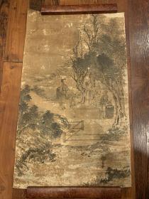 【铁牍精舍】【无款老字画】清代无款《采桑图》托片,64x38.8cm