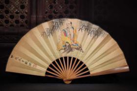 收藏扇子竹子手绘人物折扇