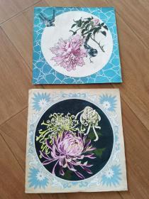 早期老手绢绘画设计原稿菊花彩色画稿一对