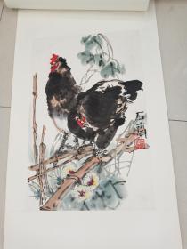 中国美协会员北京美协理事福建著名画家石齐早期花鸟国画一幅3平尺立轴