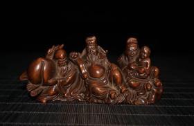 黄杨木雕刻福禄寿三星笔架摆件