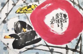 秦棠国画《双福图》