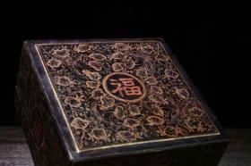 古玩收藏老木胎描金漆器福字盒