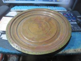 扬州东关街盐商后人家里收来的晚清巨型铜盘直径33厘米,包真包老到民国,存于楼上博古架九*5