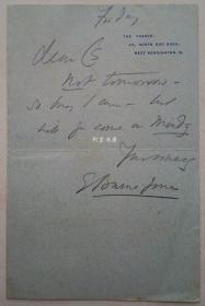 爱德华·伯恩-琼斯信札著名艺术家拉斐尔前派画家Burne-Jones亲笔信私人定制信笺纸